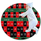Alfombra de área redonda Alfombra Mesa de ruleta europea Alfombrilla antideslizante de 27,6 pulgadas de diámetro para sala de estar, dormitorio