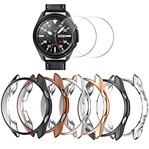 [6+2 Pack] Compatible Samsung Galaxy Watch 3 45mm Case with Screen Protector, Haojavo Soft TPU Cover Protective Bumper Shell + Tempered Glass Screen Protector Film for Samsung Galaxy Watch 3 45mm