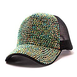 Green Rhinestone Mesh Breathable Adjustable Sun Hat