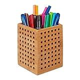 Relaxdays Lapicero de bambú, Caja de Madera, Organizador de Escritorio, Vintage, 11x9x9 cm, Marrón, Natural, 11,5 x 9 x 9 cm