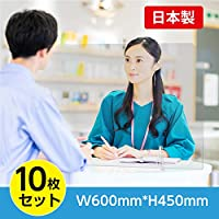 [10枚セット] [日本製] 透明 アクリルパーテーション W600×H450mm 透明 アクリル キャスト板 衝立 デスクパーテーション ウイルス対策 デスク用仕切り板 飲食店 オフィス 学校 病院 薬局 組立式 tap-600-10set