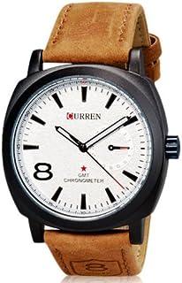 CURREN Analog White dial Hands Beige Band Men Luxury Quartz Wrist Watch Unisex