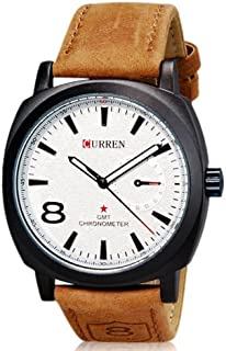 CURREN Analog White dial Hands Beige Band Men Luxury Quartz Wrist Watch Unisex