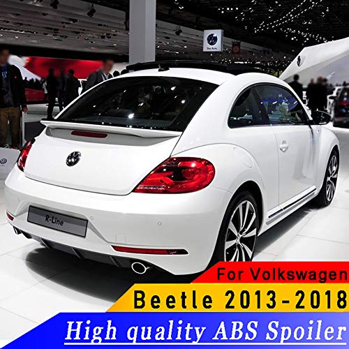 REAMIC Grundierung Oder Schwarz-Weiß-Farben Malten ABS-Auto-Heckspoiler-FlüGel FüR Vw Beetle 2013-2018,Black