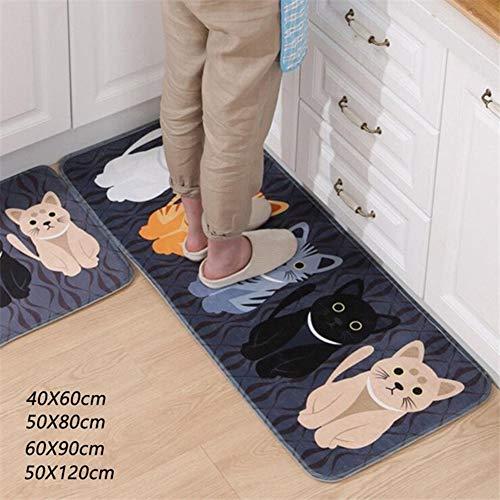 Teppiche zur Heimdekoration | Bodenmatte mit Tiermotiv, bedruckt für Badezimmer, Küche, Teppich, rutschfest, perfekte Wahl für Heimdekoration, Seide, grau, 40x60cm