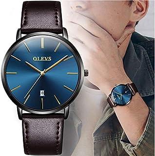 OLEVS - Reloj de pulsera para hombre, ultra delgado, de moda, minimalista y de lujo, de piel, resistente al agua, cuarzo, casual, simple correa de piel, para hombre