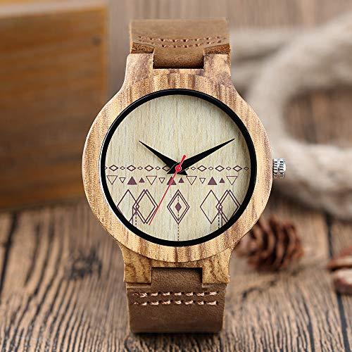 YJRIC Reloj de Madera Nuevo Reloj de Madera con patrón de geometría de rombo Vintage, Puntero Rojo de bambú, Banda de Cuero de Cuarzo, Relojes de Gran Oferta Hechos a Mano de Madera Natural