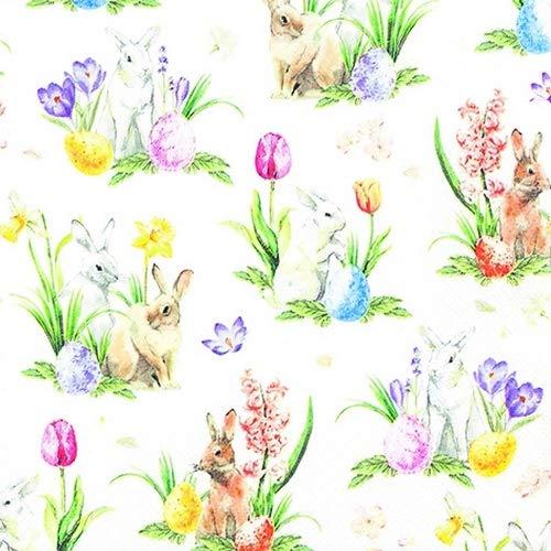 20 Servietten Kleine Hasen an Frühlingsblumen | Narzissen | Tulpen | Stiefmütterchen | Ostern 33x33cm