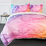 ARIGHTEX Colorful Marble Sherpa Comforter for Kids Teens Girls Soft Micromink Bedding Comforter Set Full Size 3D Fuzzy Duvet Blankets - Pink Tie Dye Bedspreads with 2 Pillow Shams