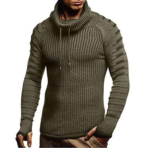 Men's Cowl Neck Chunky Pullover Sweater Cable Knit Winter Warm Hoodies Army Green