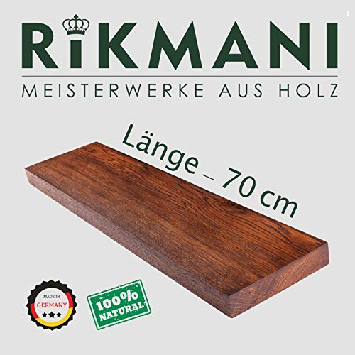 Rikmani Wandregal Holz aus Eiche Gewürzregal Holz Regal 70 cm breit Regal 20 cm tief Wandboard Regal Wohnzimmer (Schwarz Regal; 70cm)