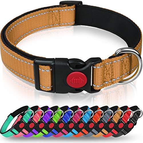 Taglory Hundehalsband, Weich Gepolstertes Neopren Nylon Hunde Halsband für Welpen, Verstellbare und Reflektierend für das Training, Braun