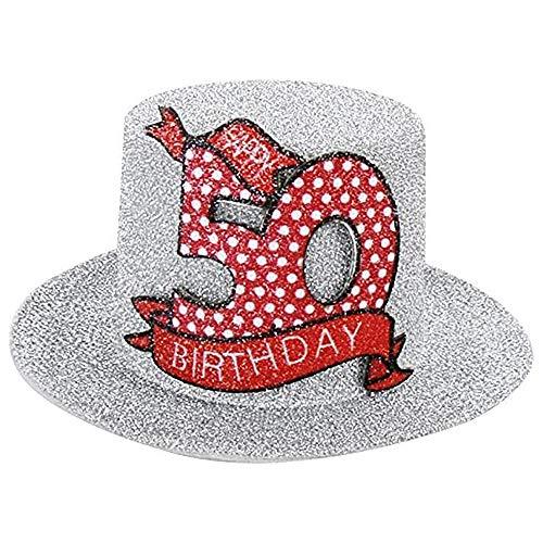 Geburtstags Hut mit Clip 50 Party Deko Spass Hutzylinder in silber Happy 50 Birthday 12x11x6 cm