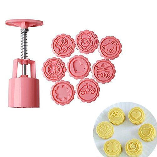 New Arrival 3D Moon Cake Molds with 8 Stamps Plastic Flower Heart Bear Pattern Handmade Pressure Cake Molds Fondant Cookie Molds Set