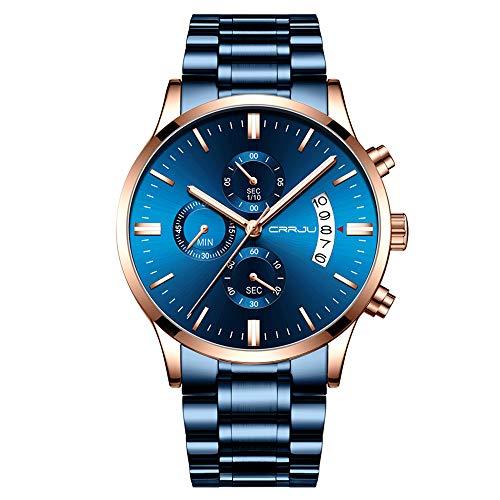 CRRJU Herrenuhr Männer Uhr Wasserdicht Business Blaues Zifferblatt Edelstahl Armband Chronograph Quarz Armbanduhr Herren mit Datumsanzeige