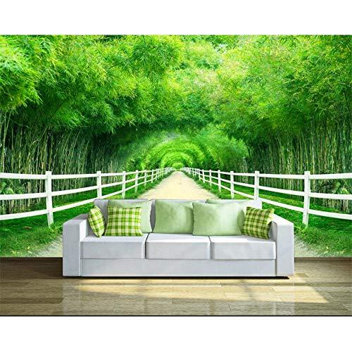 Shuangklei aangepast behang huis decoratieve muurschildering bamboe hek pad vers 3D tv muur achtergrond 3D behang behang 150x120cm