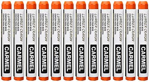 Carmel Lumber Crayon, Pack of 12 (Orange), Lumber Marking Crayon, Lumber Marker, Keel Crayon, high-Density Clay Based Paint Crayon, Ideal for Marking on Wood, Lumber, Timber
