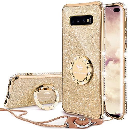 OCYCLONE Galaxy S10 Plus Hülle, Glitzer Diamant Handyhülle mit Trageband und Handy Ring Ständer Schutzhülle für Galaxy S10 Plus Handy Hülle für Mädchen Frauen, [6.4 Zoll] Gold
