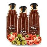 Ursini Salsa de Tomate con Aceitunas y AOVE, sin azúcar - 500 gr (Paquete de 3 Piezas)