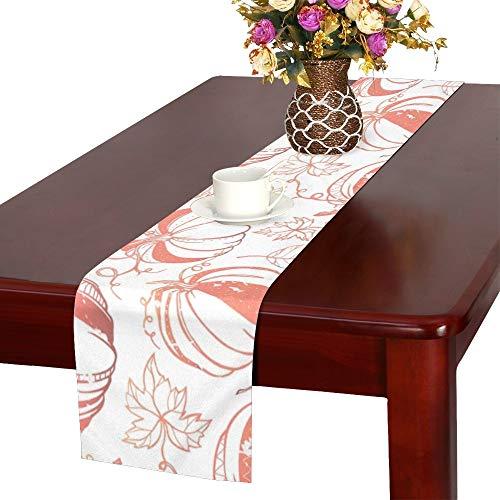 JINCAII Grange stilisierte Kürbisse Blätter Tischläufer, Küche Esstisch Läufer 16 X 72 Zoll für Dinnerpartys, Veranstaltungen, Dekor