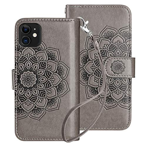 HianDier Compatible with iPhone 11 Case 6.1 Inches (2019) with Card Holder 9 Slots Detachable PU Leather Flip Cover Shockproof Magnetic Clasp Lanyard Dual Layer Wallet Cases, Mandala Gray