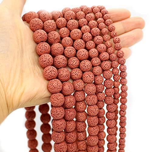 Oameusa 8mm de roca volcánica de lava roja piedras sueltas de ágata para aromaterapia, aceites esenciales,pulseras,collares,pendientes,suministros de fabricación de joyas, 45-48 piezas de 38cm/hebra