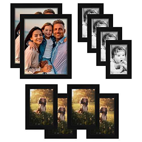 BELLE VOUS Marcos para Fotos Set Negro de Plástico (Pack de 10)...