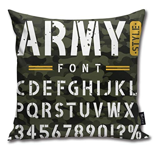 "June flower Military Stencil Font On Camouflage Vintage Cotton Linen Home Decorative Throw Pillow Case Cushion Cover for Sofa Couch, 18"" X 18\"""