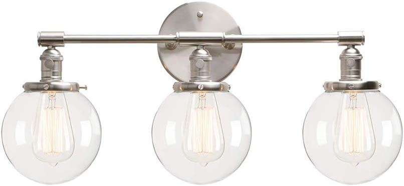 BAYCHEER San Francisco Mall Vintage Silver trend rank Orb Lights Wall with Clear Glass Light S