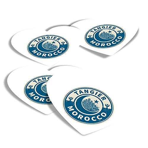 Vinyl Heart Stickers (Set of 4) - Morocco Tangier Travel Fun Decals for Laptops,Tablets,Luggage,Scrap Booking,Fridges #7446