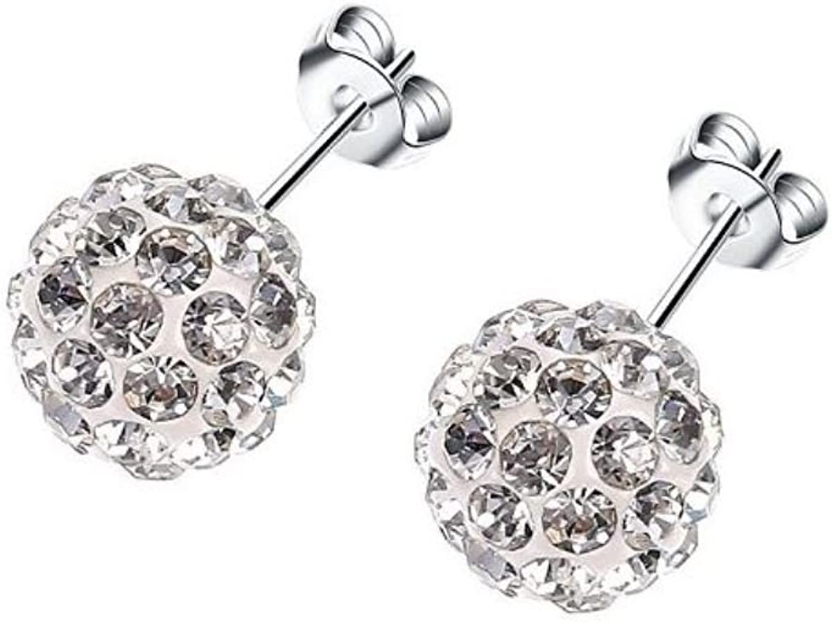 Surgical Stainless Steel Pave Crystal Disco Ball Shambala Studs Earrings Girls- Women Cubic Zirconia Hypoallergenic Earrings WITH A FREE GIFT CLEAR Pave Crystal Disco Ball Shambala (Blue)