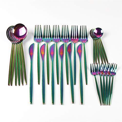 30 unids de vajilla completa multicolor de acero inoxidable cubiertos de cubiertos fruta pastel tenedor postre cuchara cuchillo conjunto de herramientas de cocina de hotel (Color : Colorful)