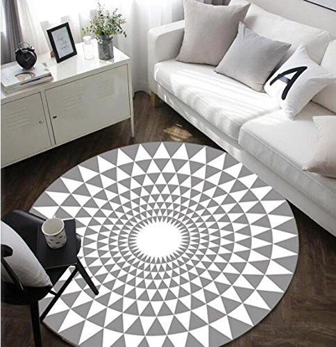 Mat-Maikajiaju Tapis Rond Noir et Blanc, Tapis Simple et Mode, adapté pour Chambre/Bureau/Salon, antidérapant (160cm, White)