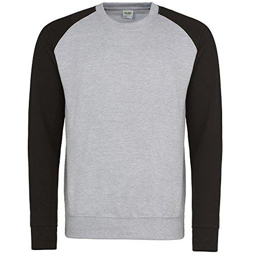 Awdis Herren Baseball Sweatshirt, zweifarbig (Medium) (Grau meliert/Schwarz)