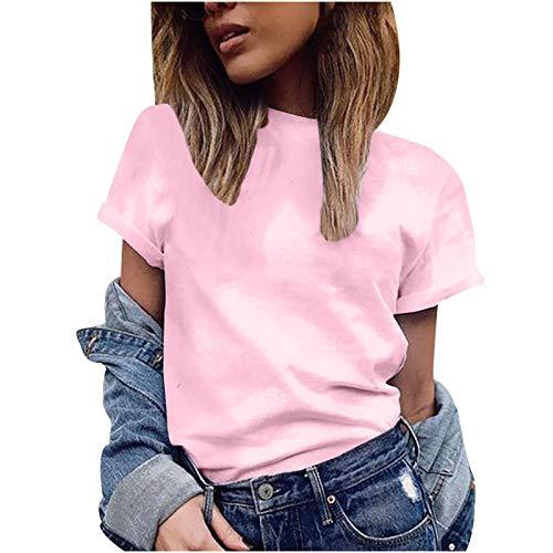 YANFANG Moda Casual Mujer Manga Corta Sólido O-Cuello Tops Camiseta para Mujer,T Shirt Tops Elegante Casual