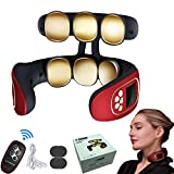 Neck Massager with Heat, FreshLife Neckology Intelligent Neck Massager, Pulse Wireless Neck Massager, Travel Smart Neck Massage Equipment for Office, Home, Airplane and Travel (Red-6D)