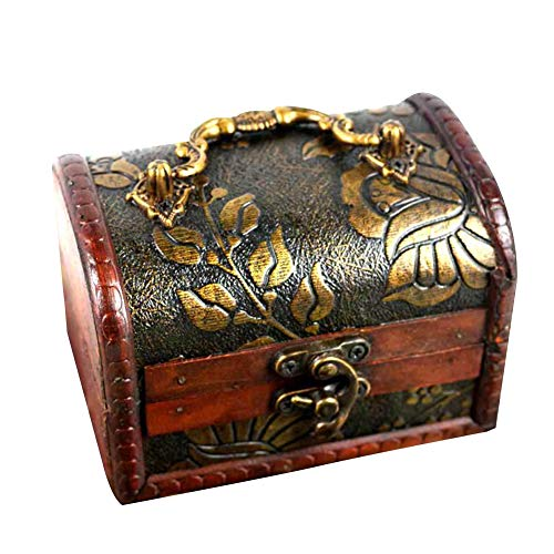 XdiseD9Xsmao Vintage borstkist met slot houten schat Craved Jewelry Storage Organizer