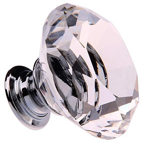 LZWOZ CNIM Hot 8X 40MM Clear Crystal Glass Deurknoppen Handvatten Diamond ladekast Furniture