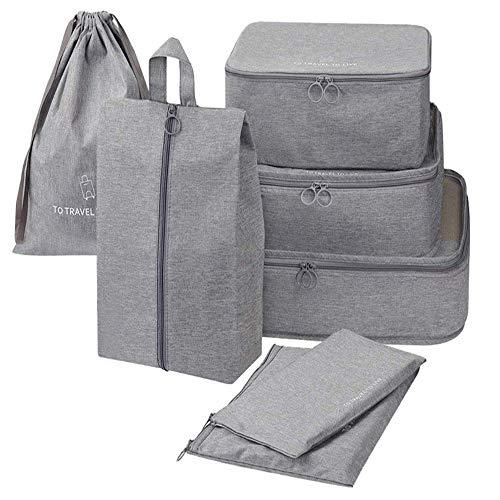 Packing Cube 7 stück, mittelgroße Kleidertaschen(Greyx)