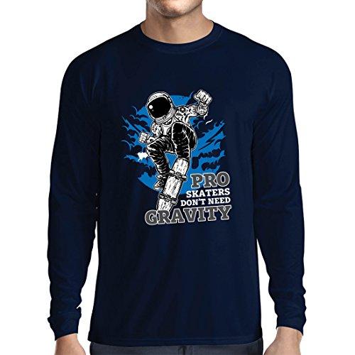 lepni.me Camiseta de Manga Larga para Hombre Pro Skaters Don't Need Gravity - Refranes del...