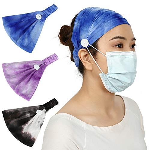 HDE Headbands with Buttons for Mask - 3 Pack of Stylish Headband with Button for Face Masks and Covers