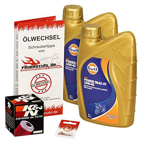 Gulf 10W-40 Öl + K&N Ölfilter für Kawasaki BN 125 Eliminator, 98-07, BN125A - Ölwechselset inkl. Motoröl, Filter, Dichtring