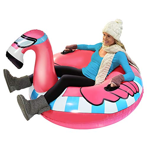 GoFloats Winter Snow Tube - Inflatable Toboggan Sled for Kids and Adults (Choose from Unicorn, Ice Dragon, Polar Bear, Penguin, Flamingo) (ST-FLAMINGO-01)