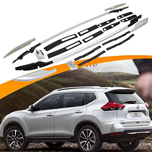 SnailAuto Roof Rail Fit for 2014 2015 2016 2017 2018 2019 Nissan X-Trail Rogue Screw Bolt Silver Aluminum Luggage Racks Cross Bars