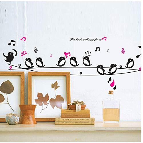 Annqing zwart witte vogels zingen op de touw Cartoon muur Stickers Kids kamer slaapkamer woonkamer muur Decor DIY zelfklevende stickers 50X70Cm