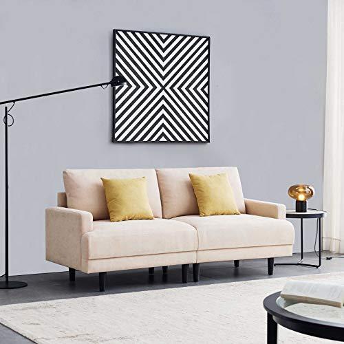 Lazyspace Sofá cama seccional, sofá cama convertible, sofá cama futón, sofá cama de tela, 3 plazas con patas de madera maciza, 180 cm (beige)