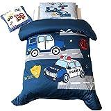 EsyDream Police Car Toddler Crib Bedding Sets 3pc Boys Cars Trucks Police Car 100% Cotton Toddler Twin Bedlinen Sheet,Duvet Cover 3PC Color 2