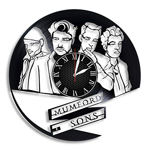 BombStudio Mumford & Sons Vinyl Record Wall Clock, Mumford & Sons Handmade for Kitchen, Office, Bedroom. Mumford & Sons Ideal Wall Poster