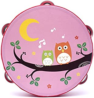 Baby Novelty Toy 18cm Baby Hand Drum Wooden Flower Tambourine Percussion Instrument (Pink Owl)