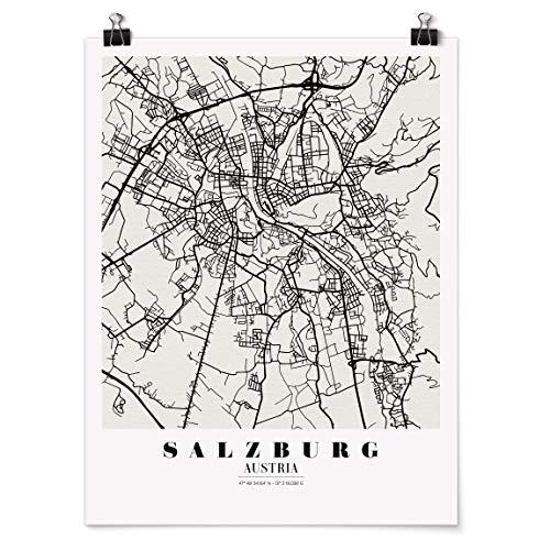 Bilderwelten Poster Wanddeko Stadtplan Salzburg - Klassik Selbstklebend seidenmatt 40 x 30cm